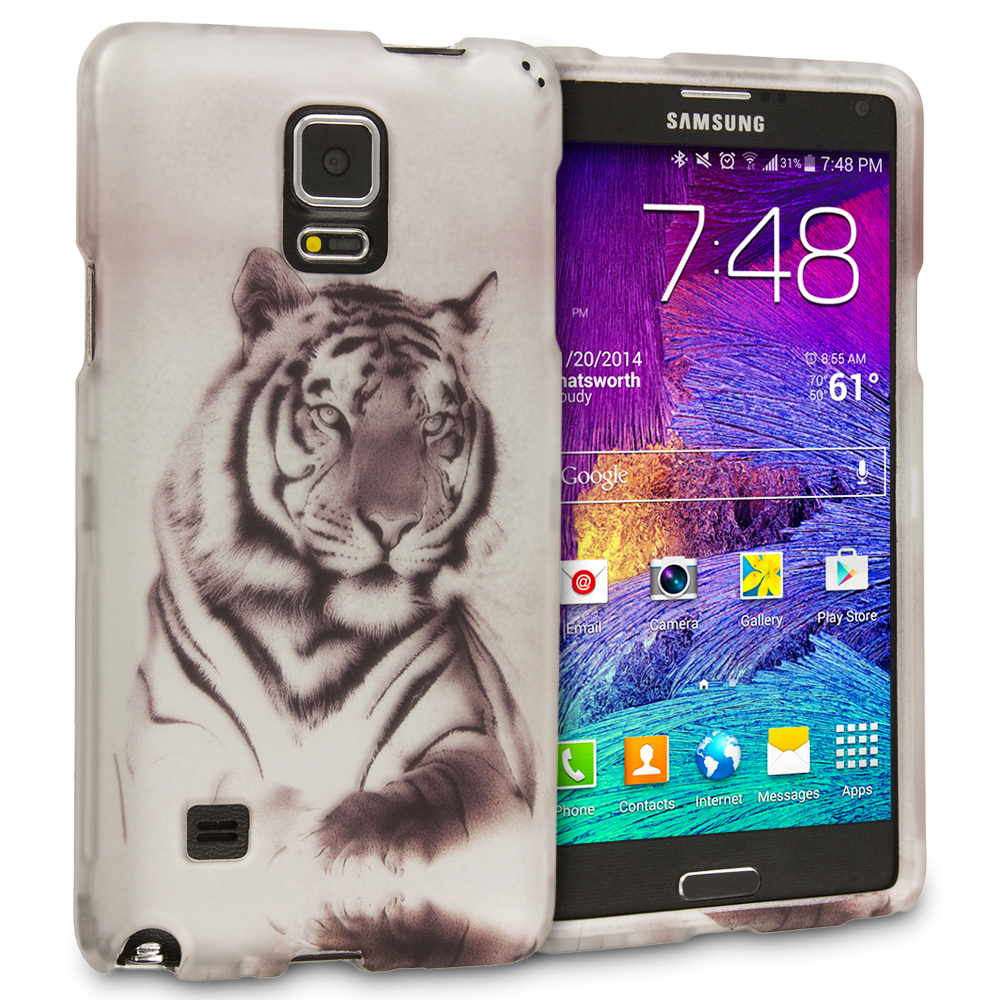 Samsung Galaxy Note 4 Tiger 2D Hard Rubberized Design Case Cover