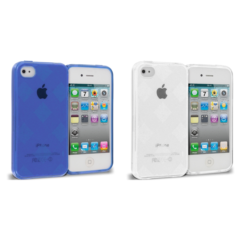 Apple iPhone 4 / 4S 2 in 1 Combo Bundle Pack - Blue Clear Diamond TPU Rubber Skin Case Cover