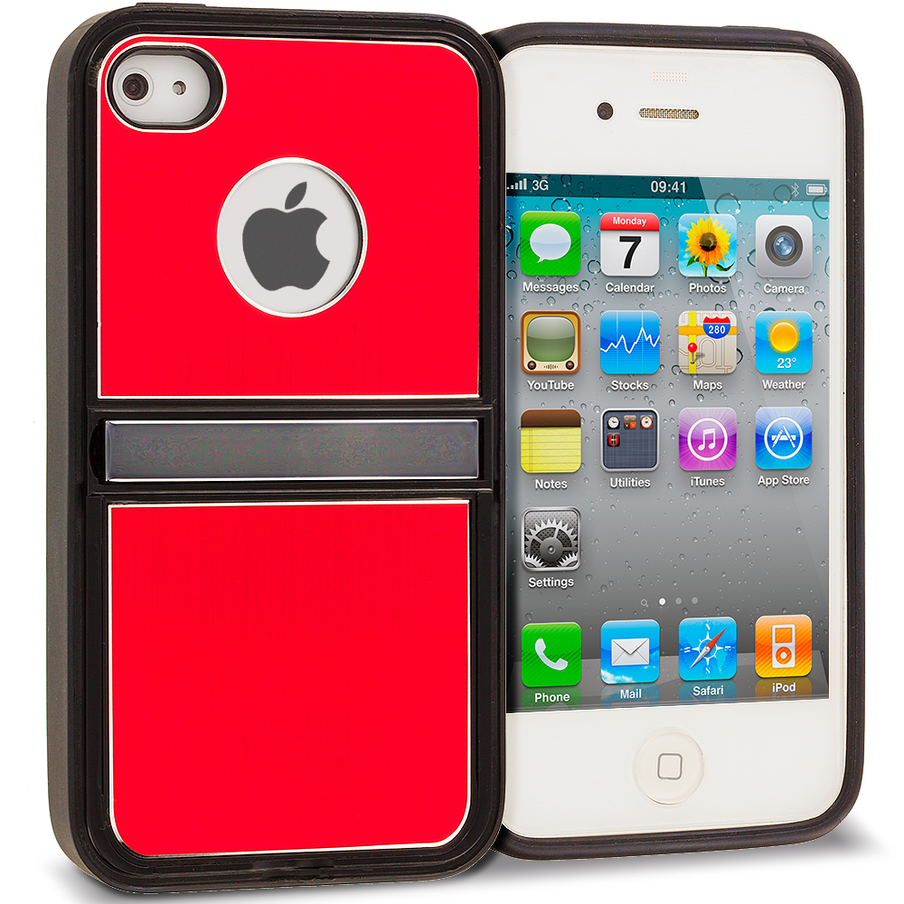 Apple iPhone 4 / 4S Red Brushed Stand Aluminum Metal Hard Case Cover