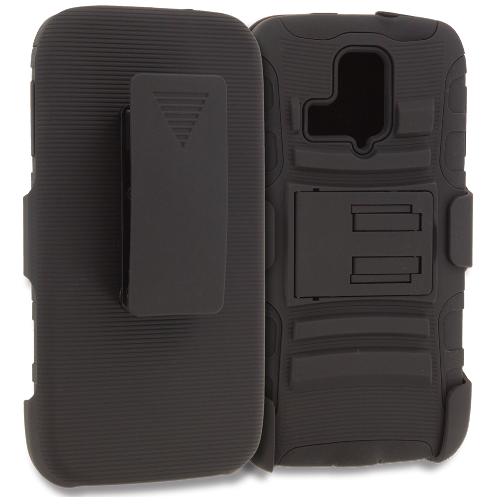 Kyocera Hydro Icon / Hydro Life Black Hybrid Heavy Duty Rugged Case Cover with Belt Clip Holster