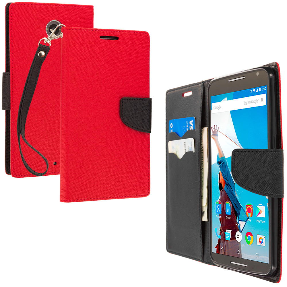 Motorola Google Nexus 6 Red / Black Leather Flip Wallet Pouch TPU Case Cover with ID Card Slots