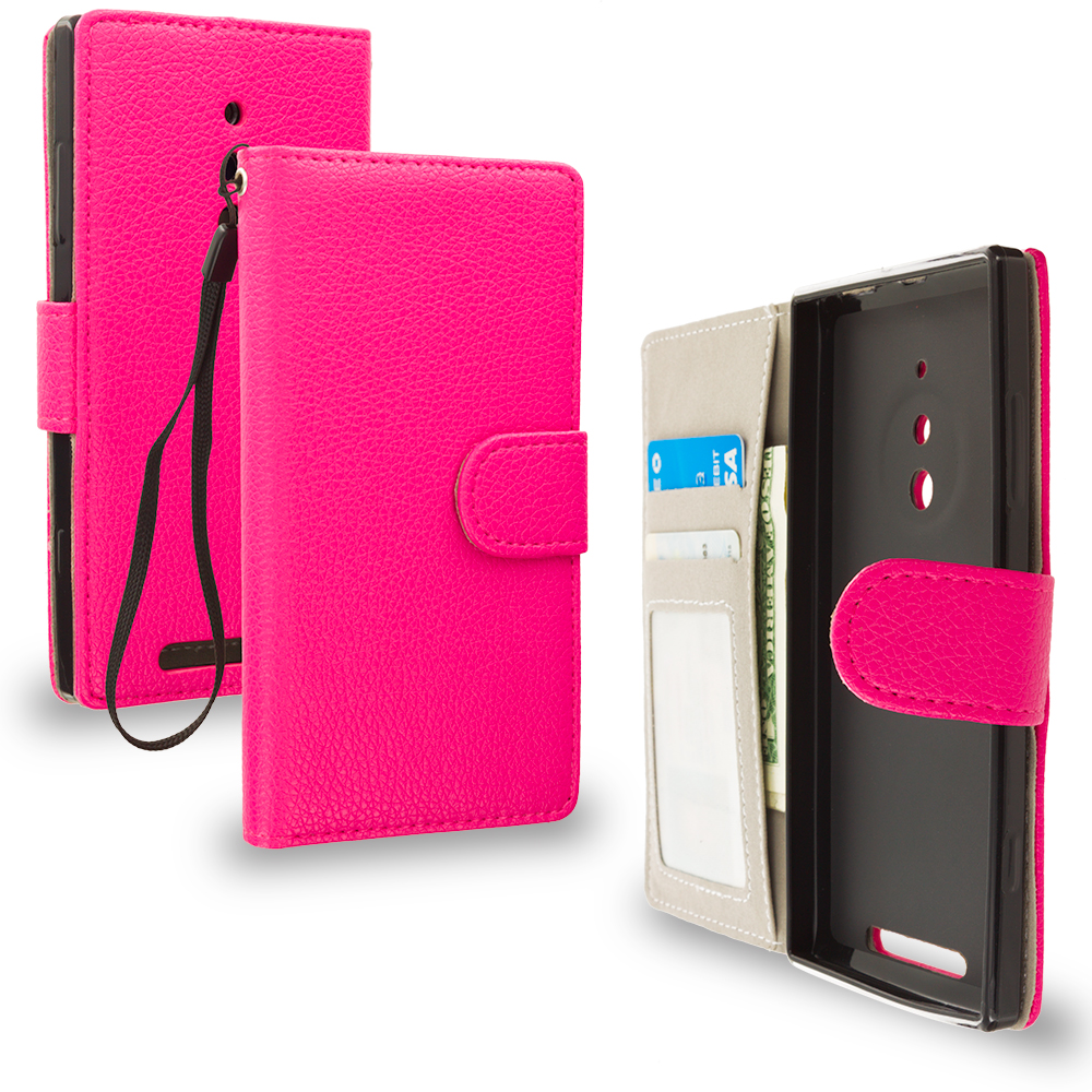 Nokia Lumia 830 Hot Pink Leather Wallet Pouch Case Cover with Slots