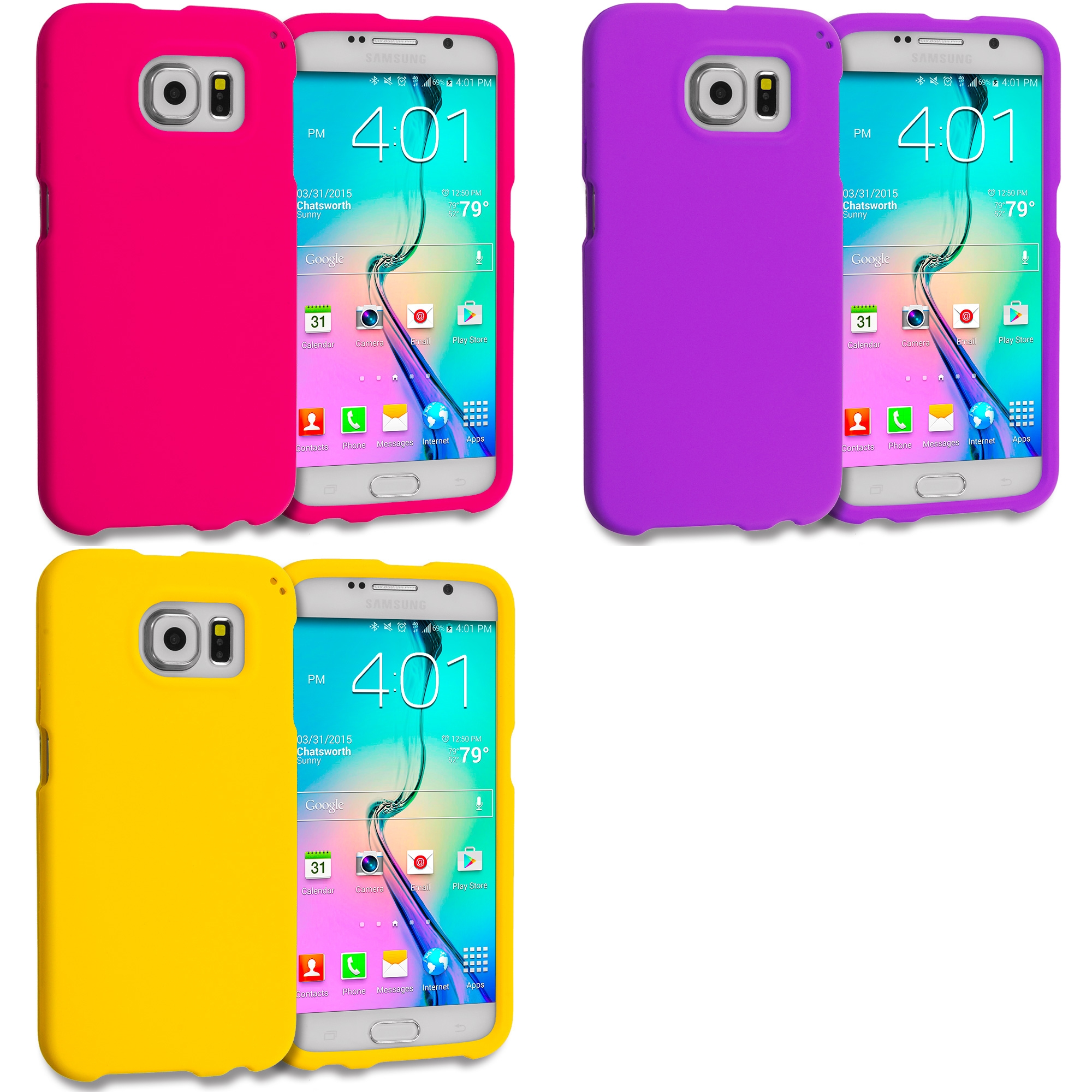 Samsung Galaxy S6 3 in 1 Combo Bundle Pack - Hard Rubberized Case Cover