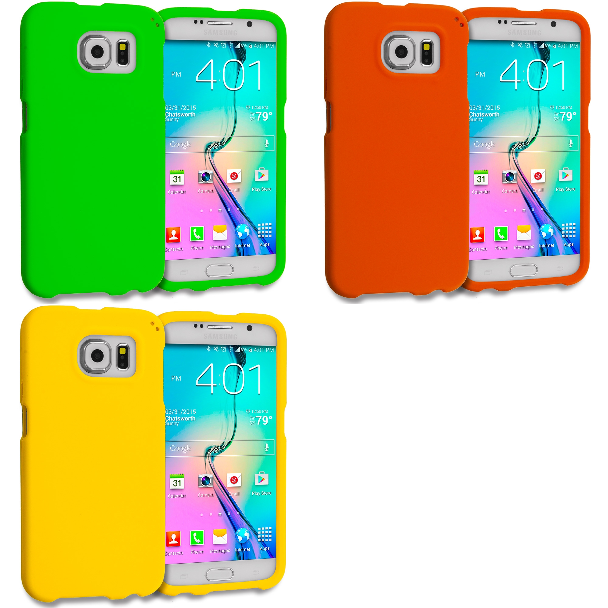 Samsung Galaxy S6 Combo Pack : Neon Green Hard Rubberized Case Cover