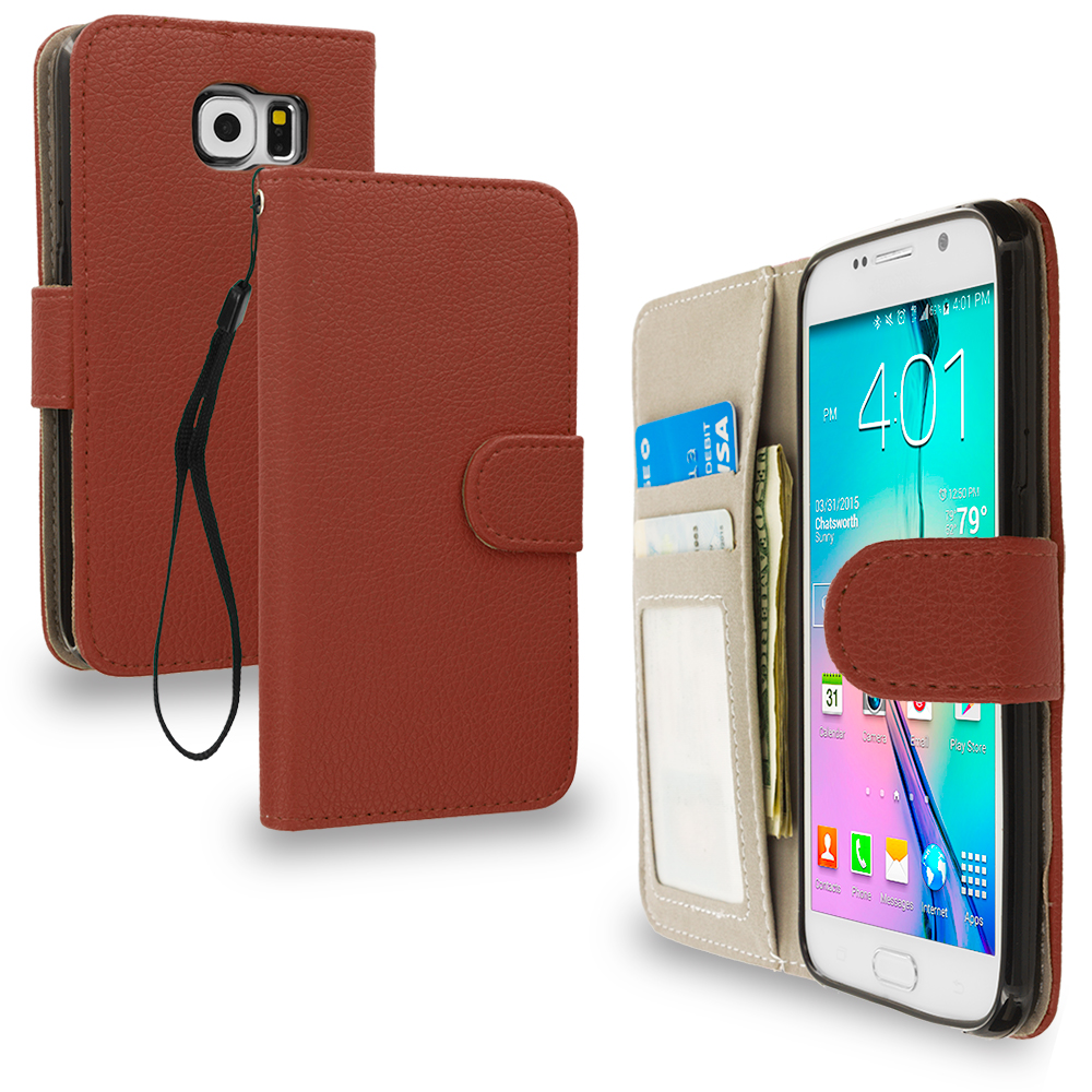 Samsung Galaxy S6 Brown Leather Wallet Pouch Case Cover with Slots