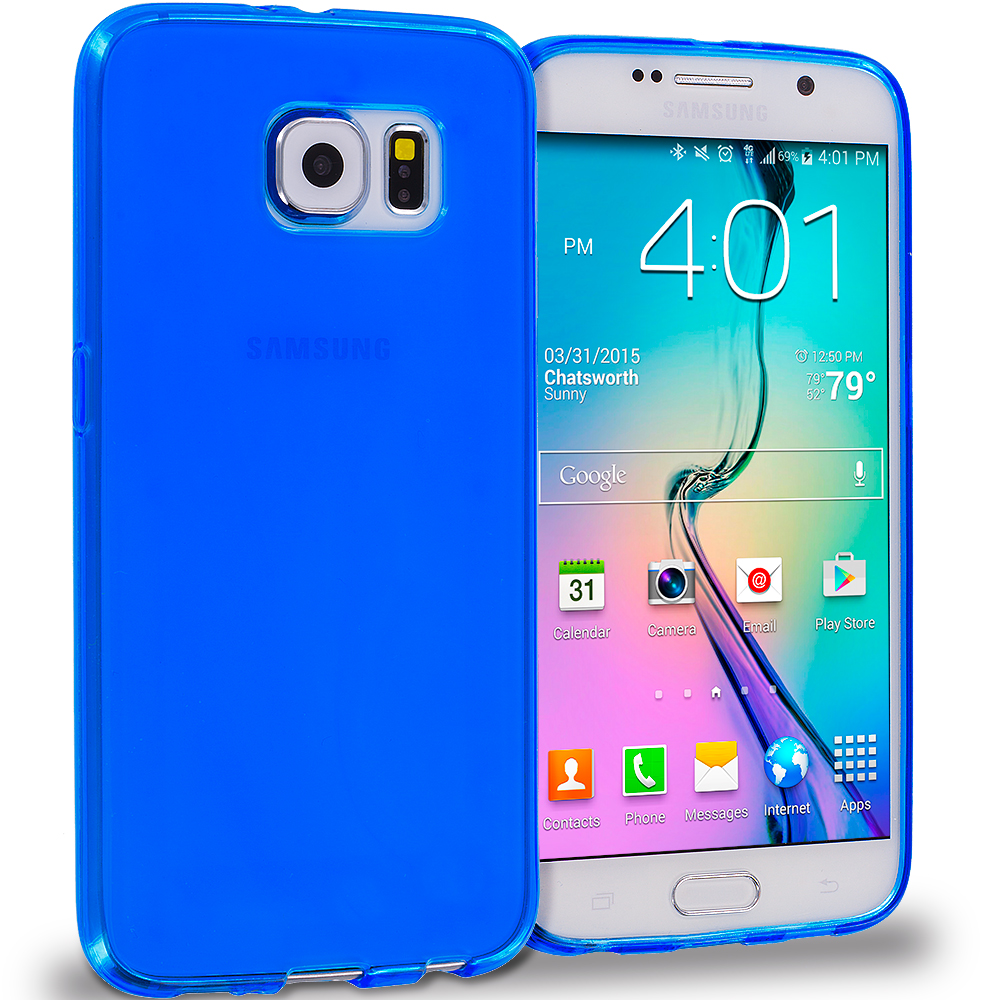 Samsung Galaxy S6 11 in 1 Combo Bundle Pack - Baby Blue Plain TPU Rubber Skin Case Cover : Color Blue Plain