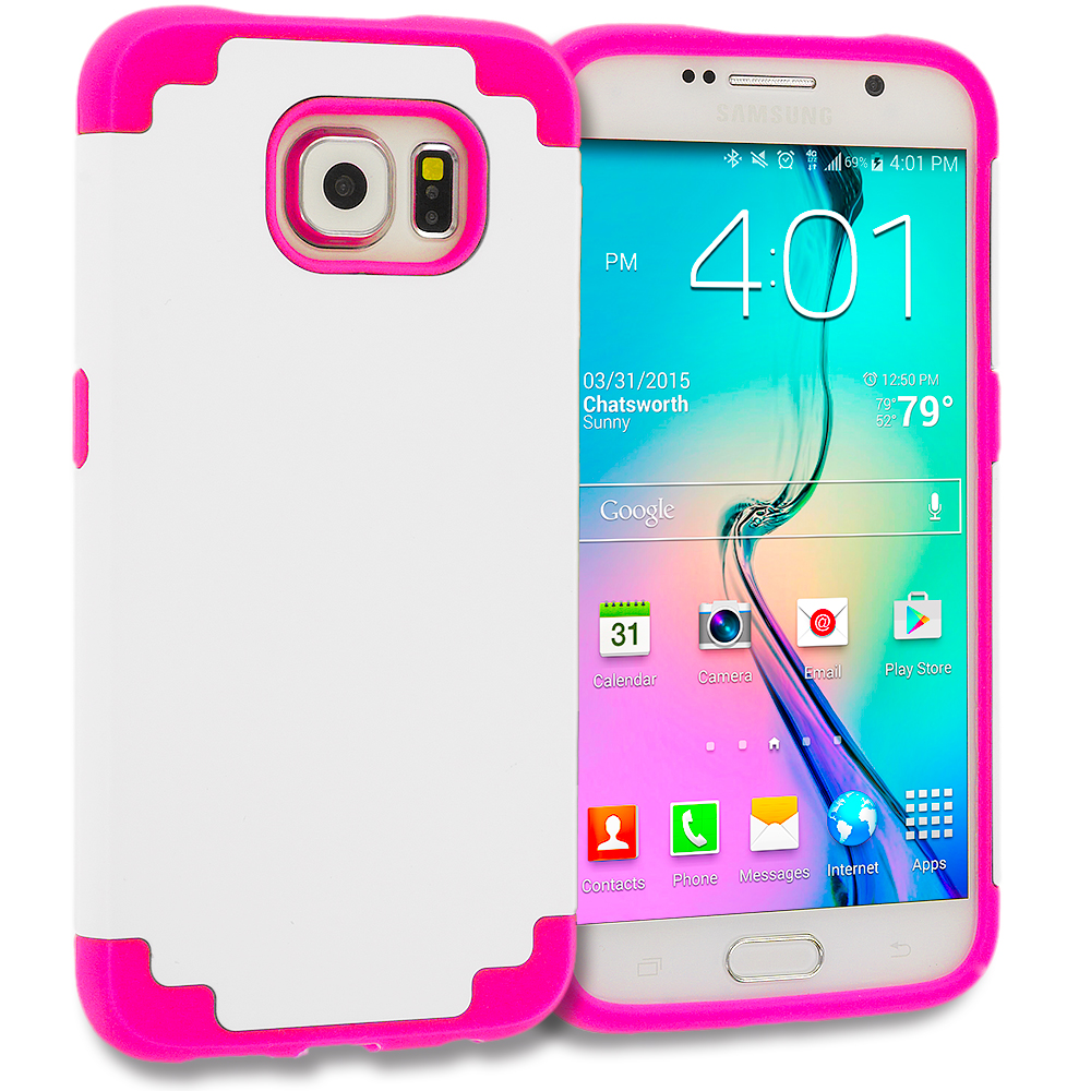 Samsung Galaxy S6 Hot Pink / White Hybrid Slim Hard Soft Rubber Impact Protector Case Cover