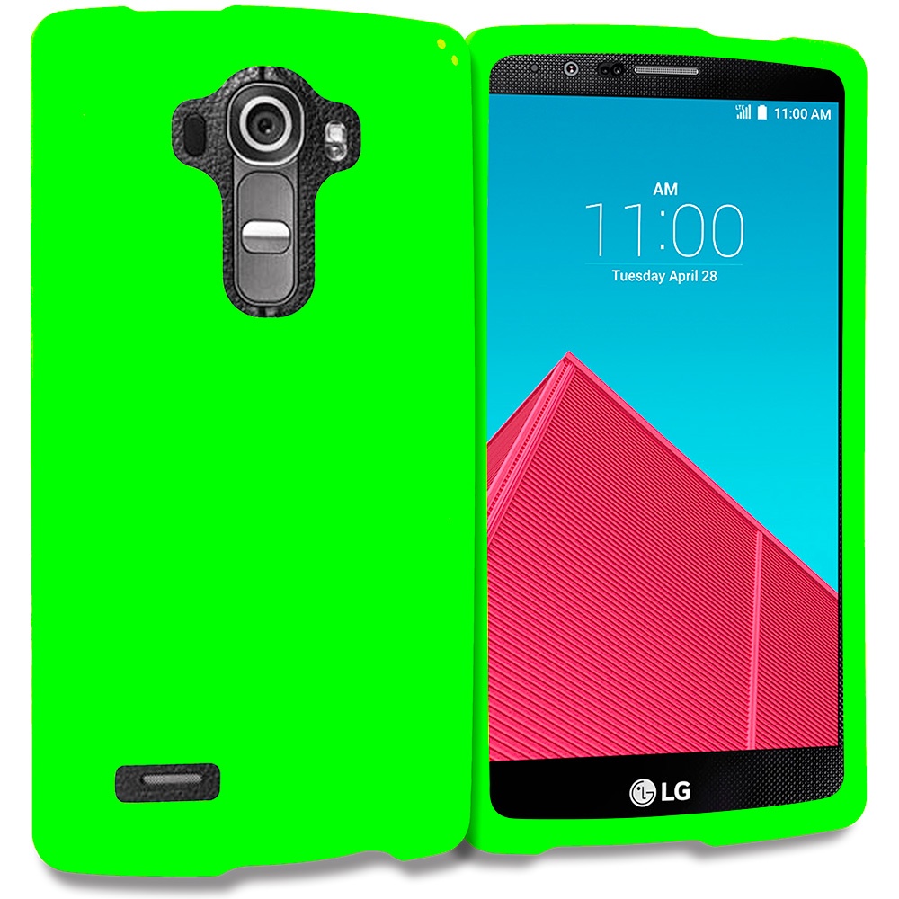 LG G4 Neon Green Hard Rubberized Case Cover