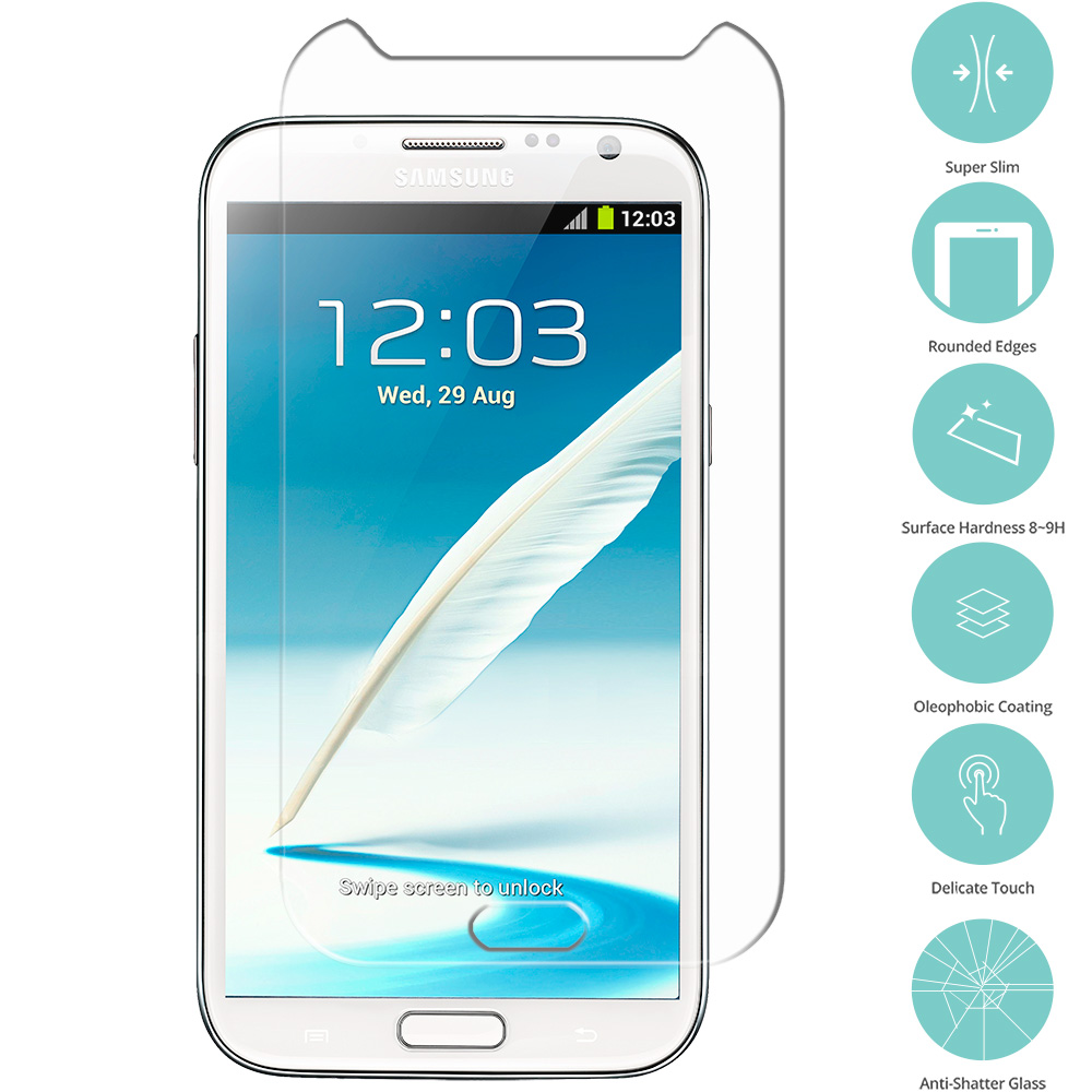 Samsung Galaxy Note 2 II N7100 Clear Tempered Glass Film Screen Protector Clear