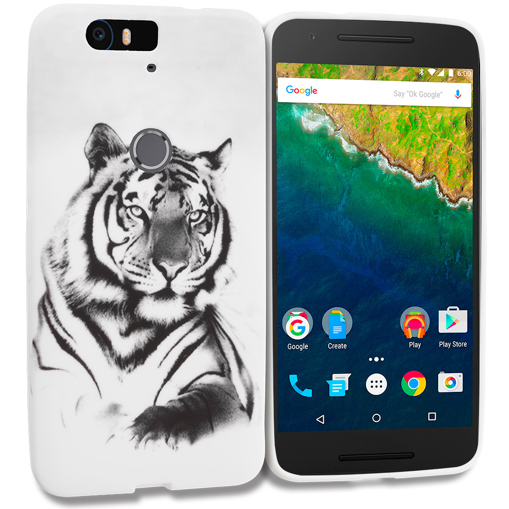 Huawei Google Nexus 6P White Tiger TPU Design Soft Rubber Case Cover