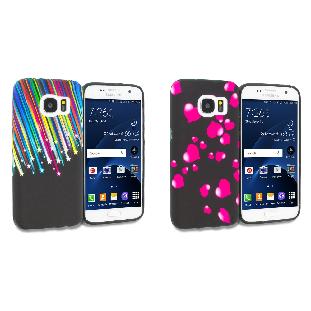 Samsung Galaxy S7 Combo Pack : Rainbow Star TPU Design Soft Rubber Case Cover