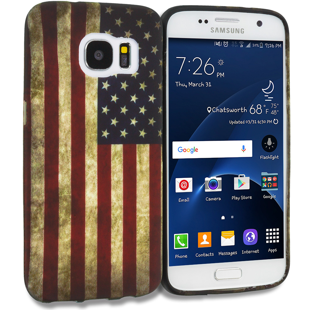Samsung Galaxy S7 Combo Pack : USA Eagle TPU Design Soft Rubber Case Cover : Color USA Flag