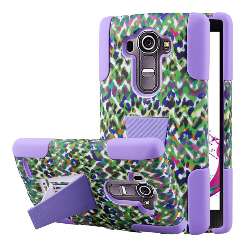 LG G4 - Purple Rainbow Leopard MPERO IMPACT X - Kickstand Case Cover