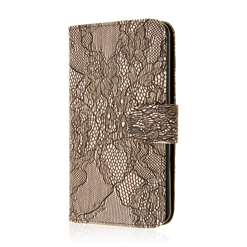 HTC Desire 816 - Black Lace MPERO FLEX FLIP Wallet Case Cover