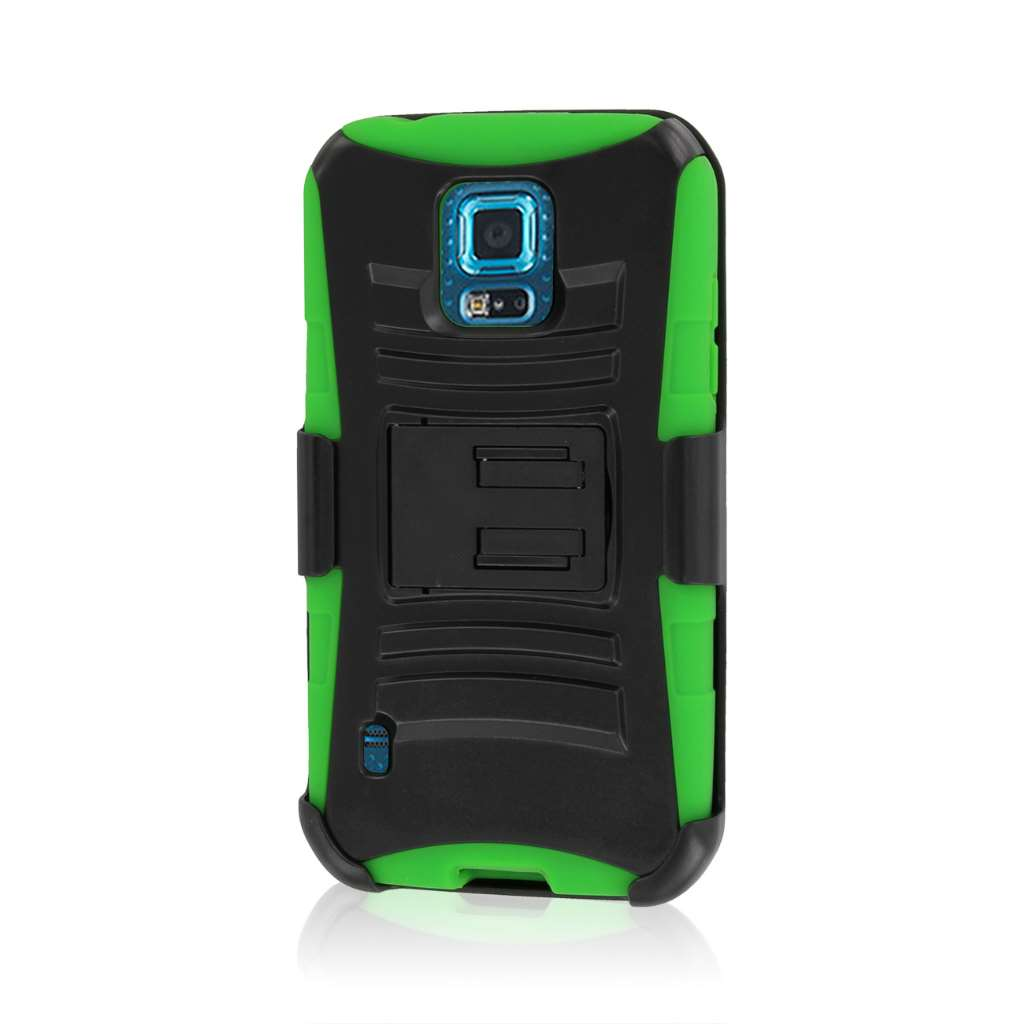 Samsung Galaxy S5 Sport - Neon Green MPERO IMPACT XT - Kickstand Case Cover