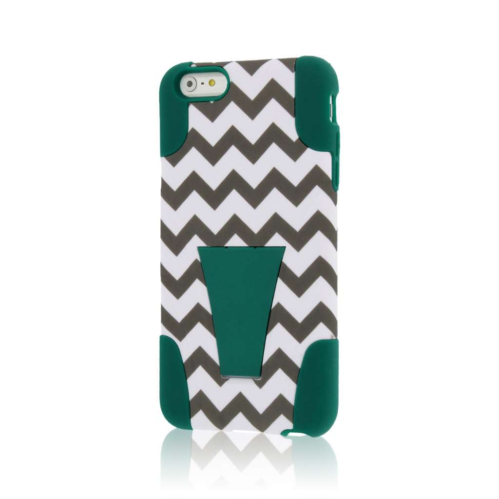 Apple iPhone 6 6S Plus - Teal Chevron MPERO IMPACT X - Kickstand Case Cover
