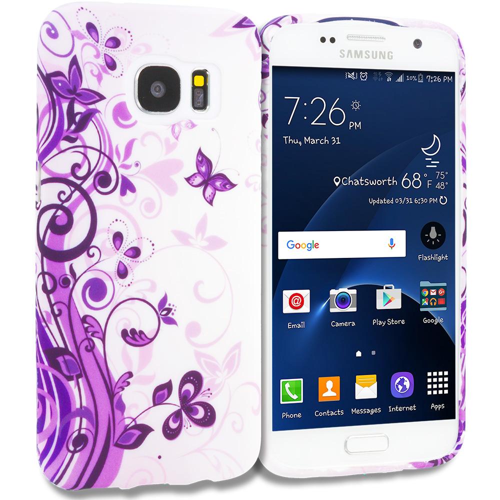 Samsung Galaxy S7 Edge Purple Swirl TPU Design Soft Rubber Case Cover