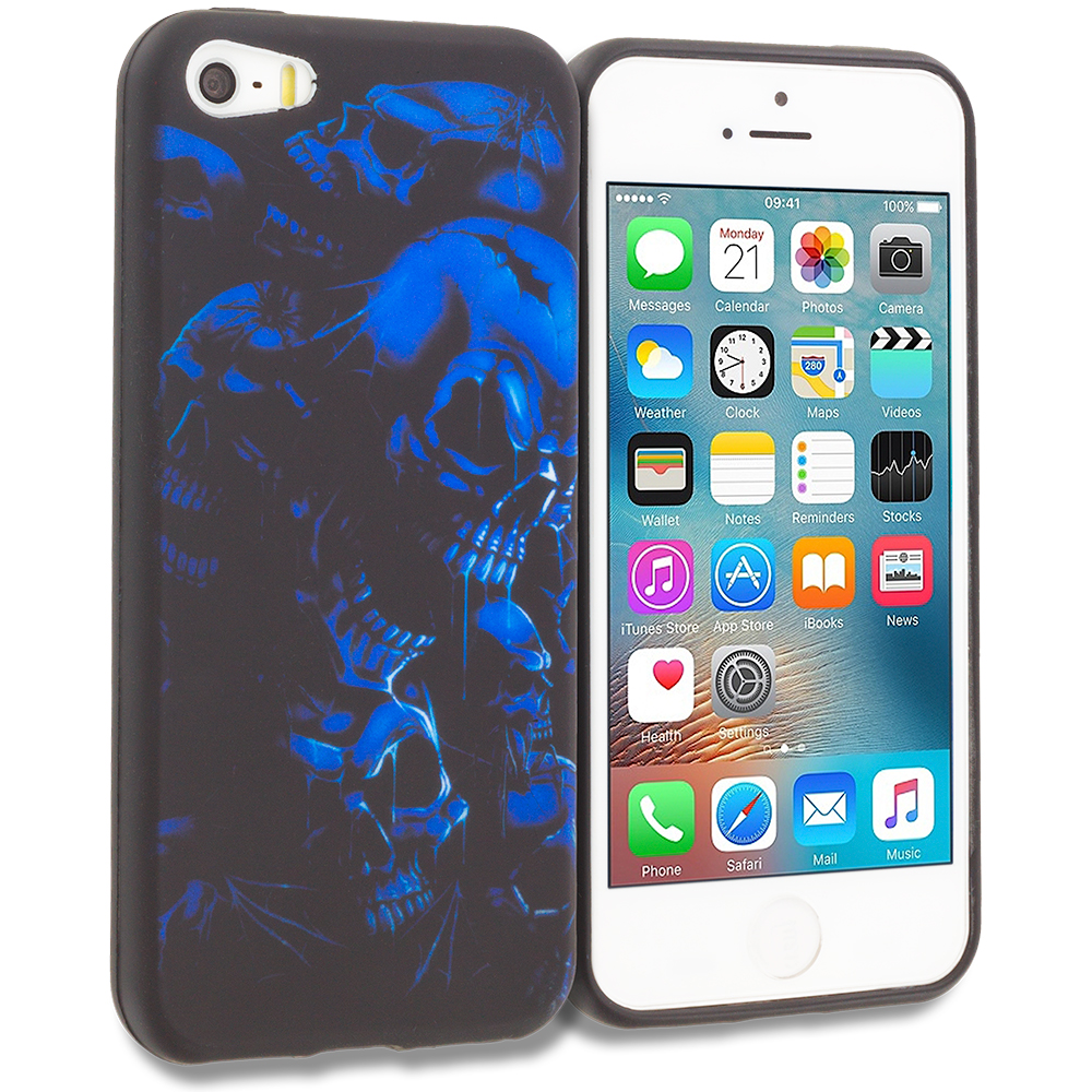 Apple iPhone 5/5S/SE Combo Pack : Black Blue Skull TPU Design Soft Rubber Case Cover : Color Black Blue Skull