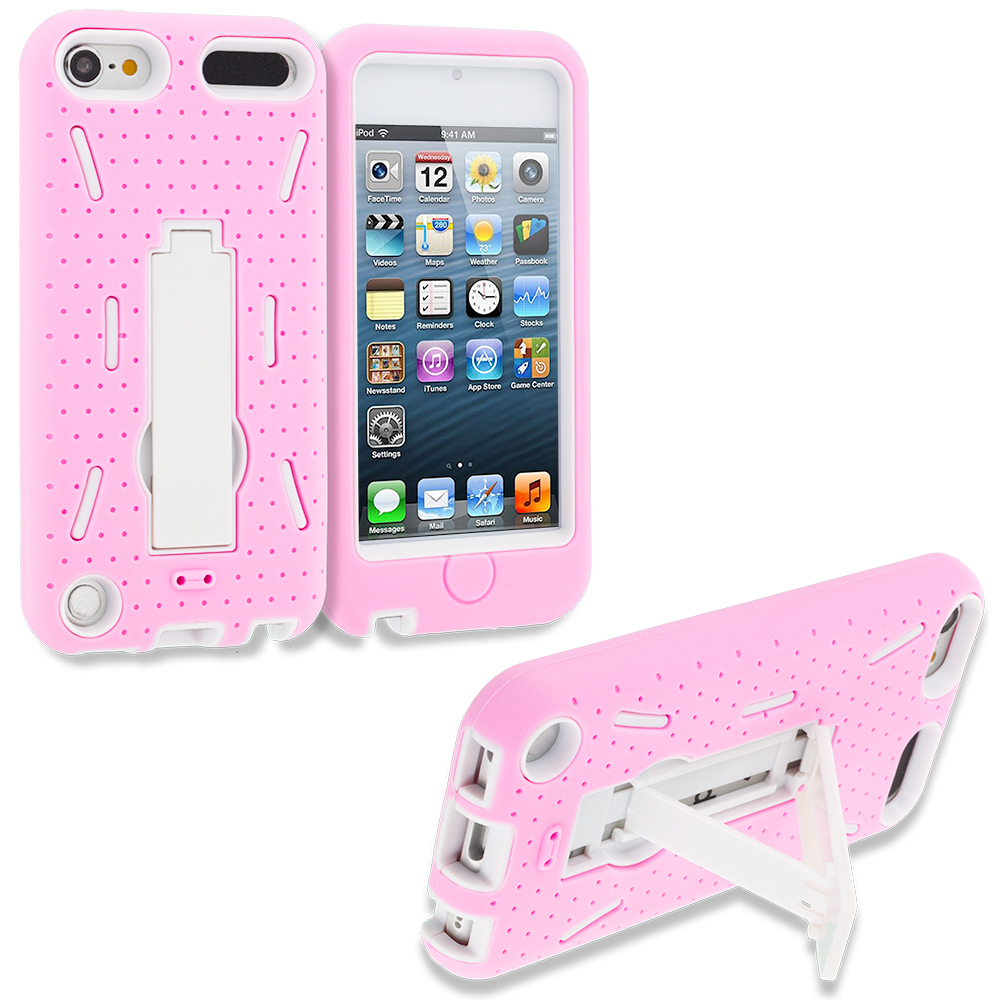 Apple iPod Touch 5th 6th Generation Hot Pink White Hybrid Heavy Duty Hard Soft Case Cover with Kickstand