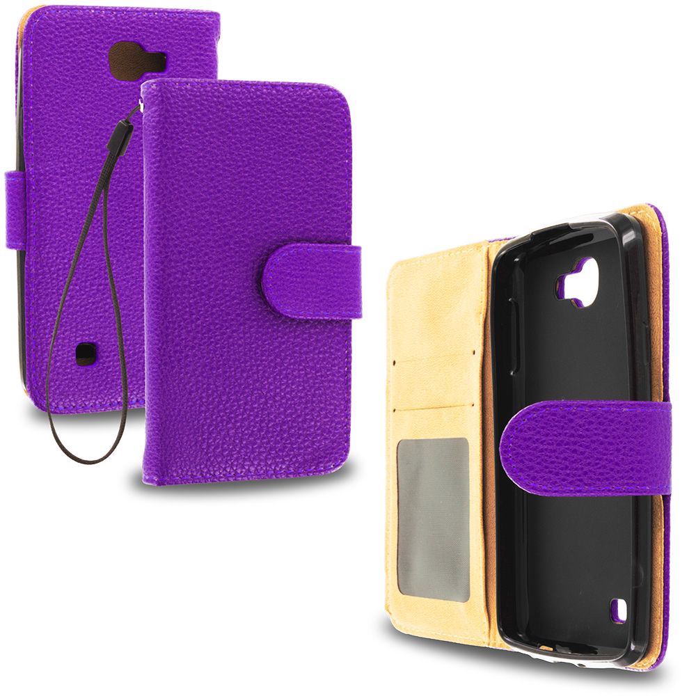 LG Spree Optimus Zone 3 VS425 K4 Purple Leather Wallet Pouch Case Cover with Slots