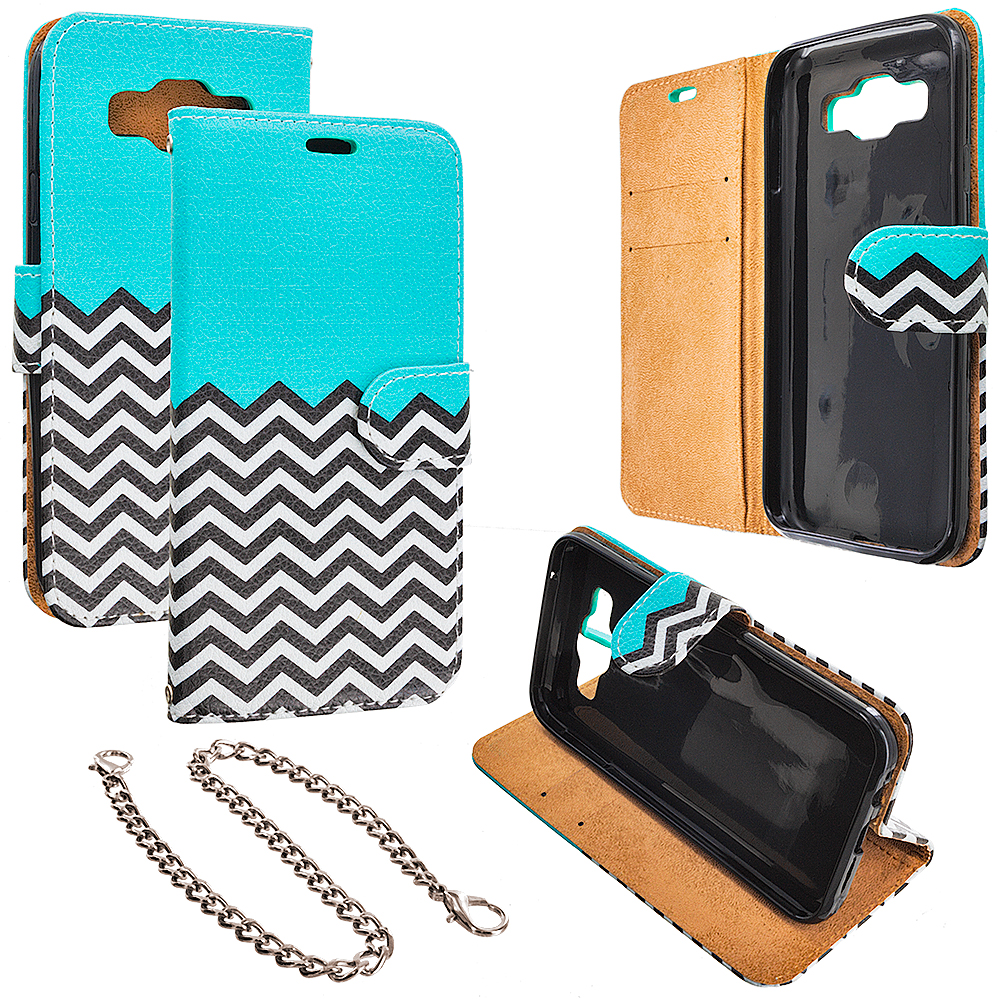 Samsung Galaxy E5 S978L Mint Green Zebra Design Wallet Flip Pouch Case Cover with Credit Card ID Slots