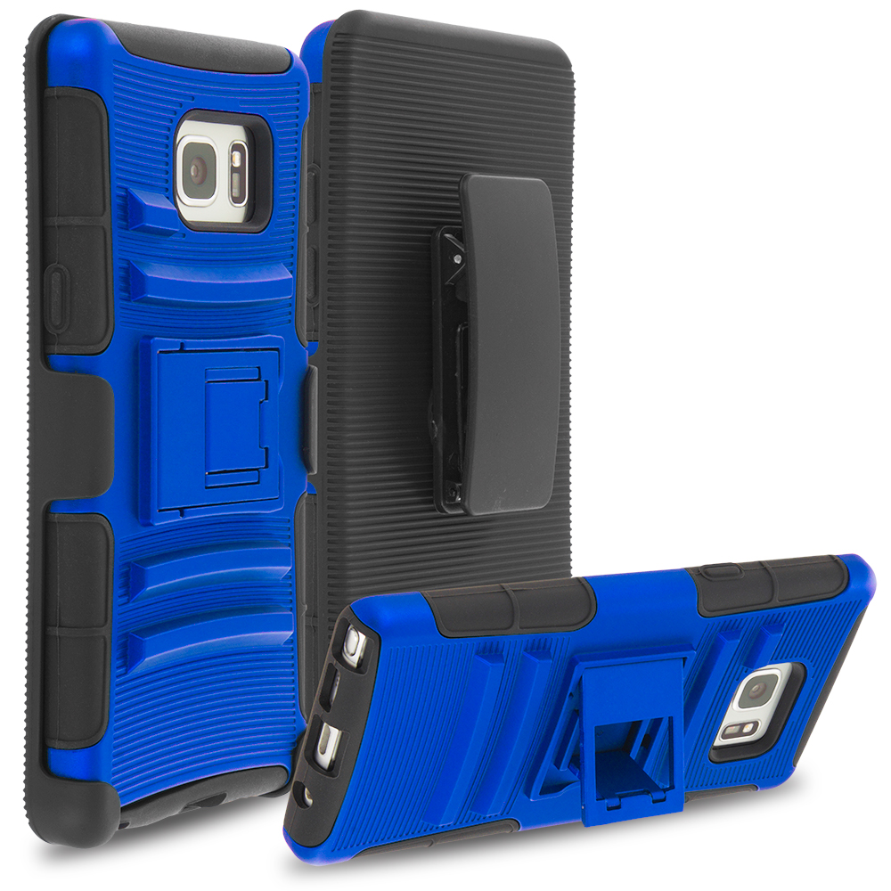 Samsung Galaxy Note 7 Blue Hybrid Heavy Duty Rugged Case Cover with Belt Clip Holster