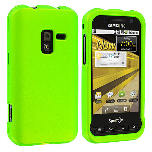 Samsung Conquer 4G D600 Neon Green Hard Rubberized Case Cover