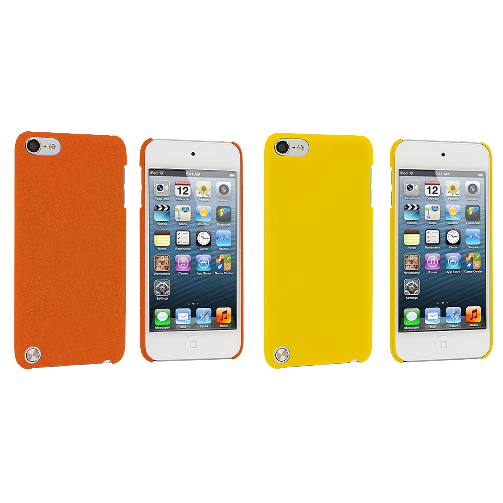 Apple iPod Touch 5th 6th Generation 2 in 1 Combo Bundle Pack - Yellow Orange Hard Rubberized Back Cover Case