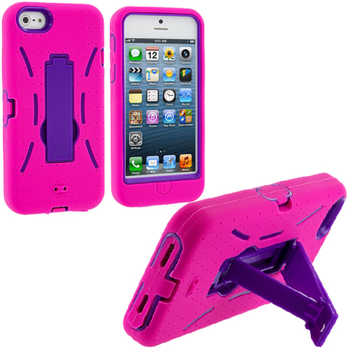Apple iPhone 5/5S/SE Hot Pink / Purple Hybrid Heavy Duty Hard/Soft Case Cover with Stand