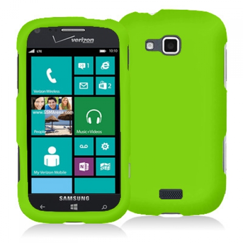 Samsung ATIV Odyssey Neon Green Hard Rubberized Case Cover