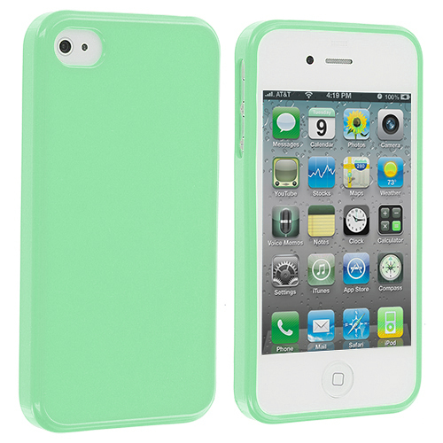 Apple iPhone 4 / 4S Mint Green Solid TPU Rubber Skin Case Cover