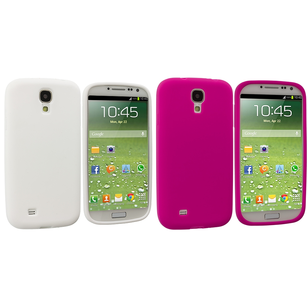 Samsung Galaxy S4 2 in 1 Combo Bundle Pack - White Pink Silicone Soft Skin Case Cover
