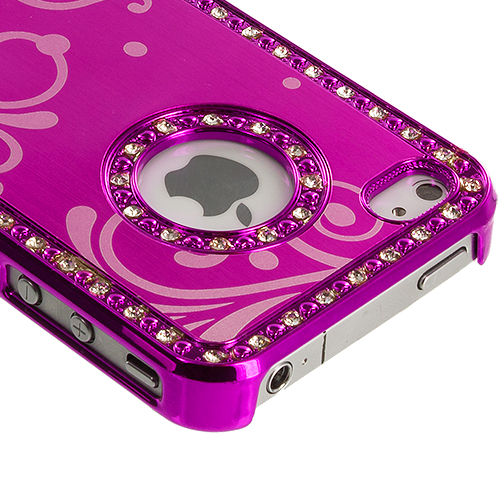 Apple iPhone 4 / 4S 2 in 1 Combo Bundle Pack - Black Pink Diamond Luxury Flower Case Cover : Color Hot Pink