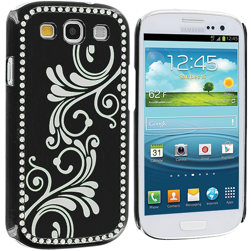 Samsung Galaxy S3 2 in 1 Combo Bundle Pack - Black Pink Diamond Luxury Flower Case Cover : Color Black
