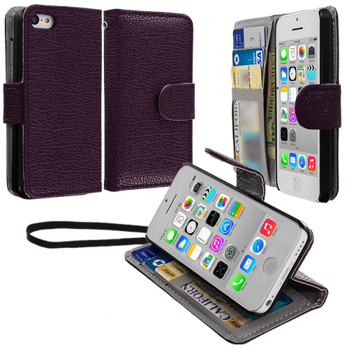 Apple iPhone 5C Purple Leather Wallet Pouch Case Cover with Slots