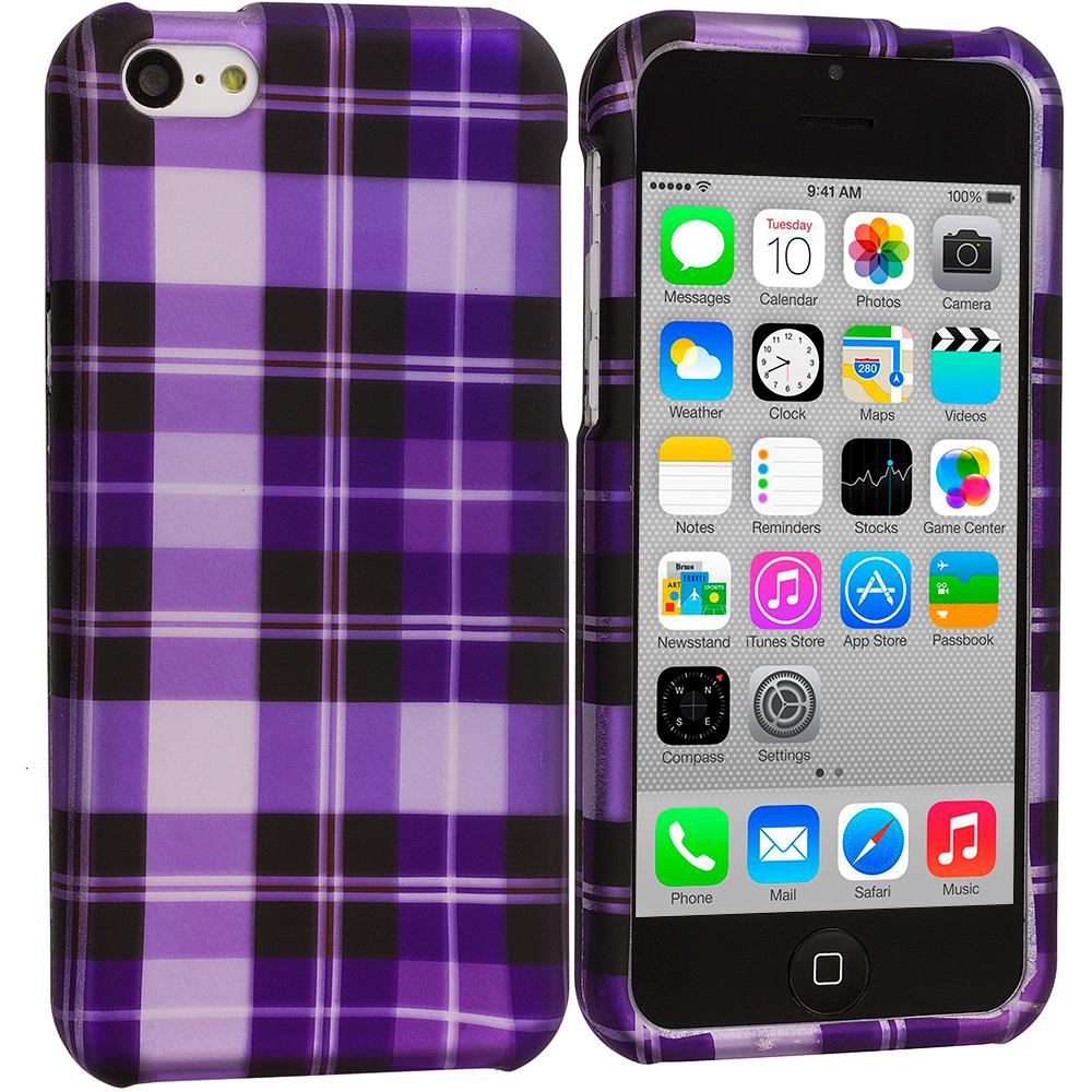 Apple iPhone 5C Purple Checker Hard Rubberized Design Case Cover