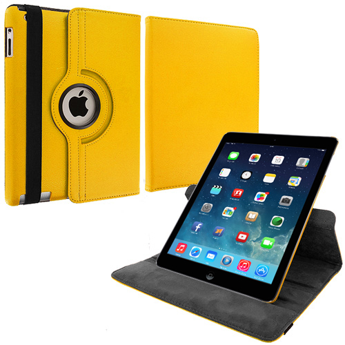 Apple iPad Air Yellow 360 Rotating Leather Pouch Case Cover Stand