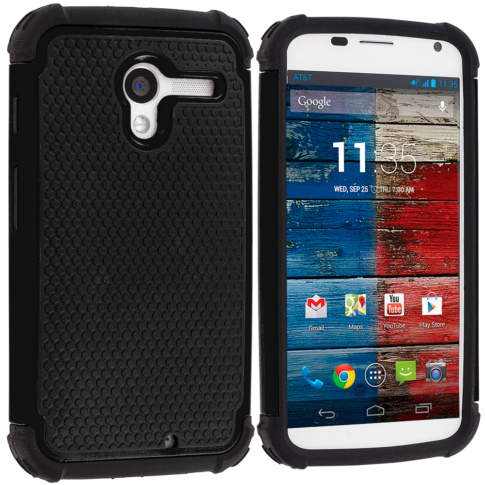 Motorola Moto X 2 in 1 Combo Bundle Pack - Black / Blue Hybrid Rugged Hard/Soft Case Cover : Color Black / Black