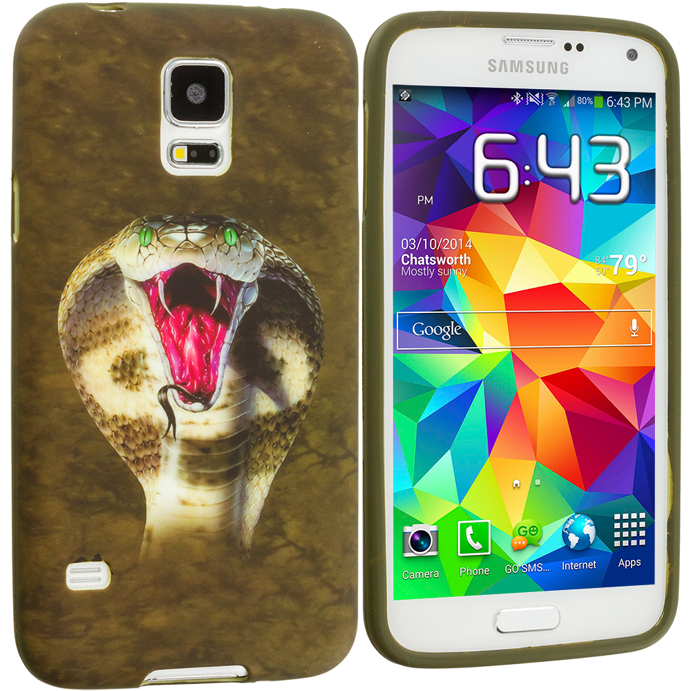 Samsung Galaxy S5 4 in 1 Combo Bundle Pack - Animals TPU Design Soft Case Cover : Color Kobra