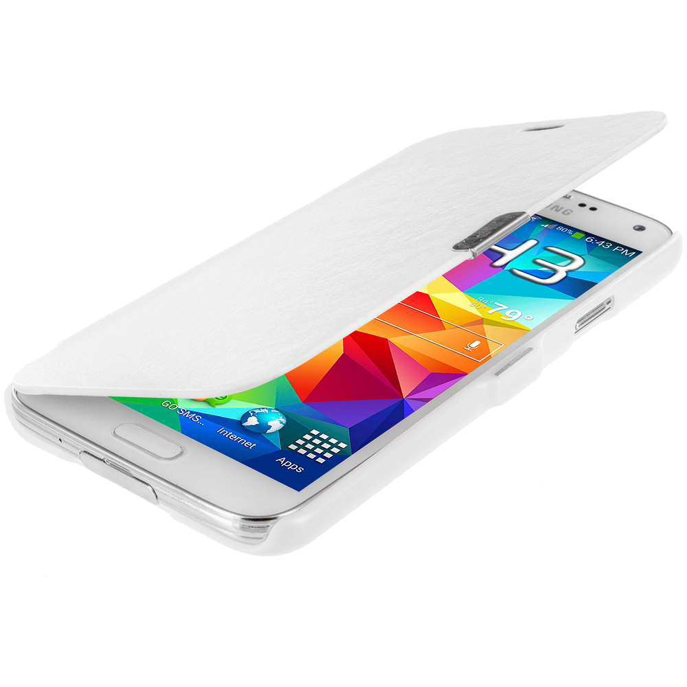 Samsung Galaxy S5 White Magnetic Wallet Case Cover Pouch