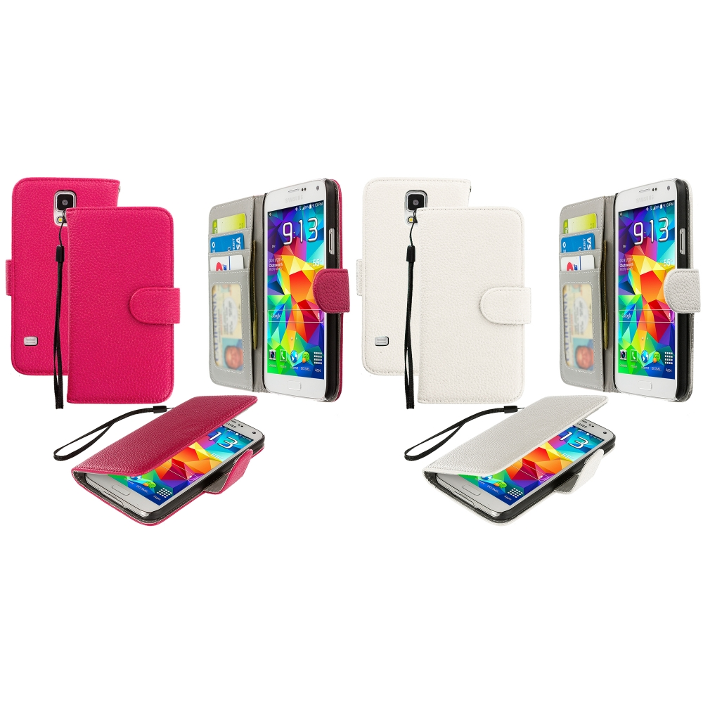 Samsung Galaxy S5 2 in 1 Combo Bundle Pack - Hot Pink White Leather Wallet Pouch Case Cover with Slots