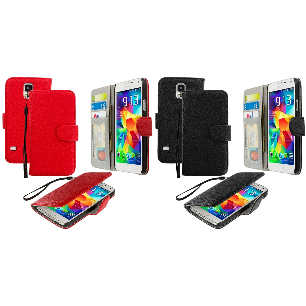Samsung Galaxy S5 2 in 1 Combo Bundle Pack - Black Red Leather Wallet Pouch Case Cover with Slots