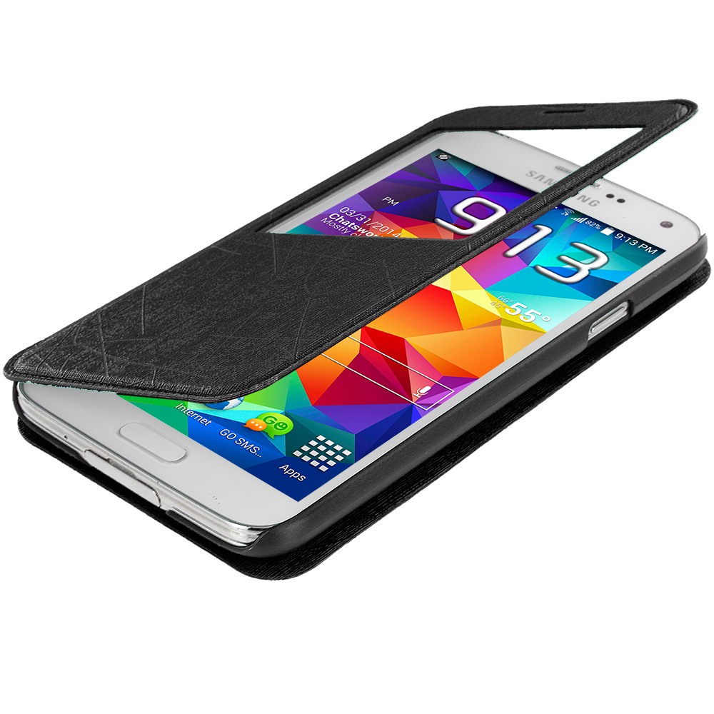 Samsung Galaxy S5 Black (S-View) Magnetic Wallet Case Cover Pouch