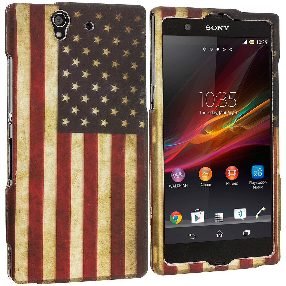 Sony Xperia Z USA Flag 2D Hard Rubberized Design Case Cover