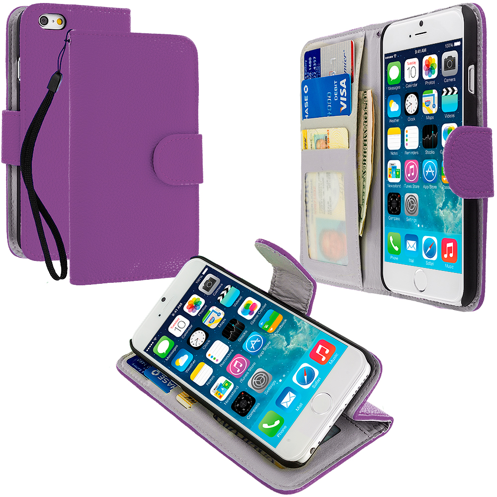 Apple iPhone 6 3 in 1 Bundle - Leather Wallet Pouch Case Cover with Slots : Color Purple