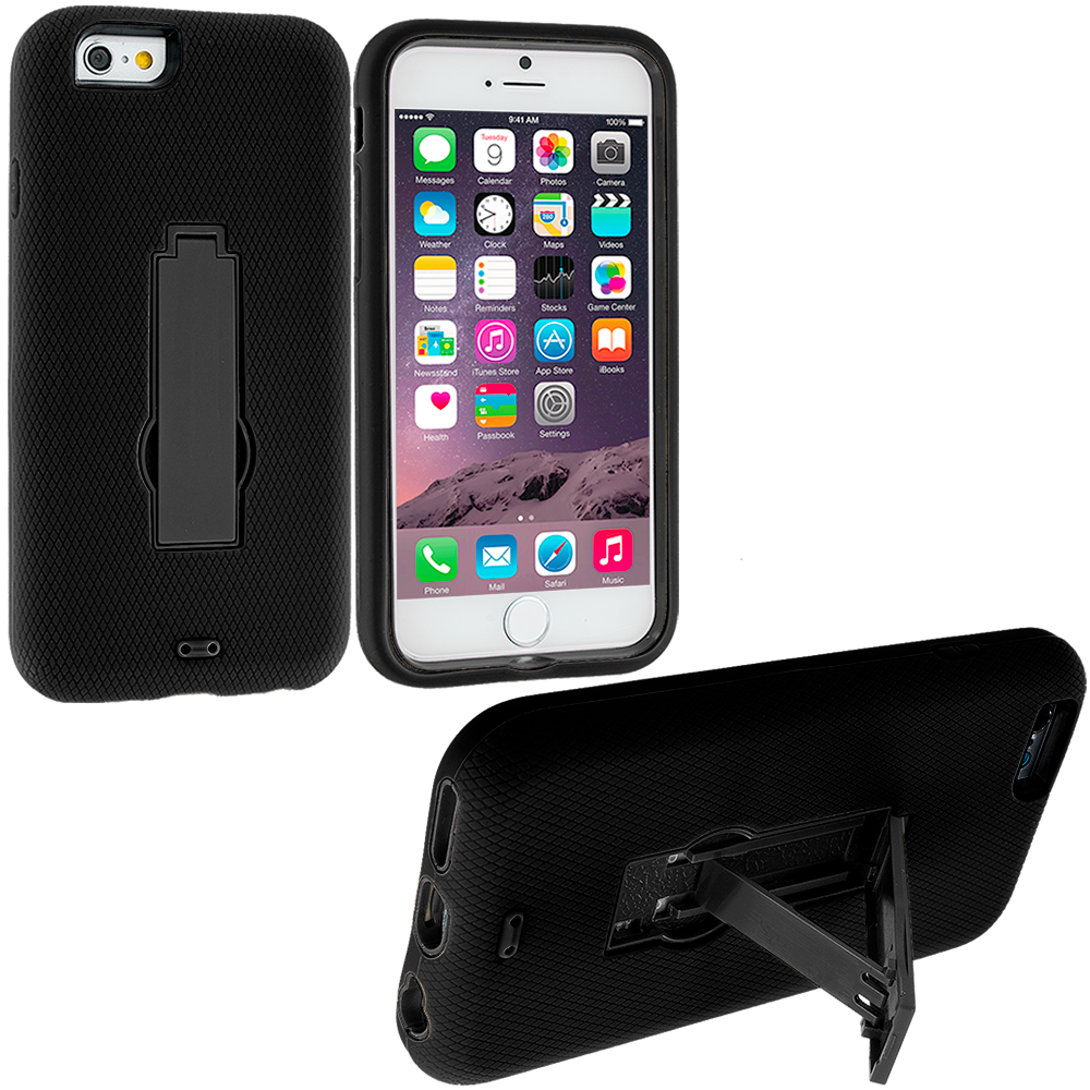 Apple iPhone 6 Black / Black Hybrid Heavy Duty Hard/Soft Case Cover with Stand