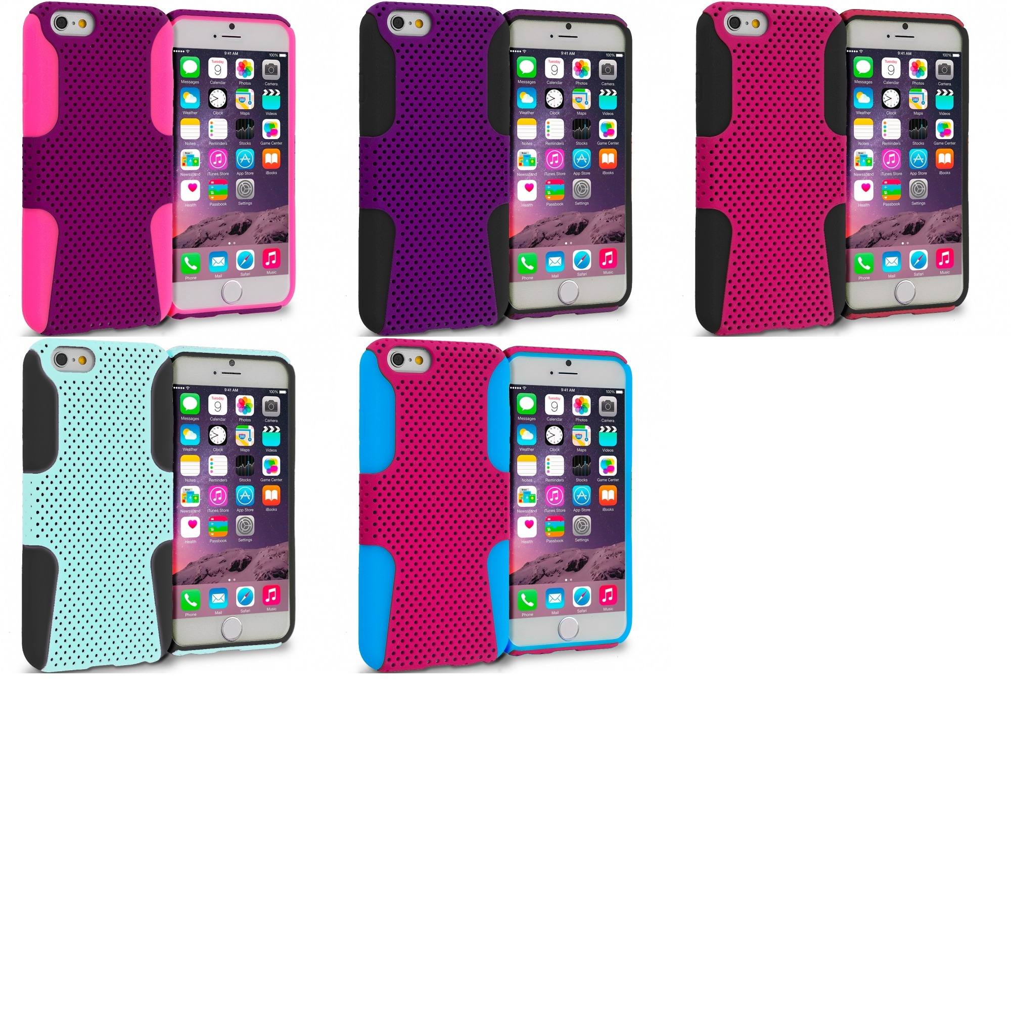 Apple iPhone 6 5 in 1 Bundle - Hybrid Mesh Hard/Soft Case Cover