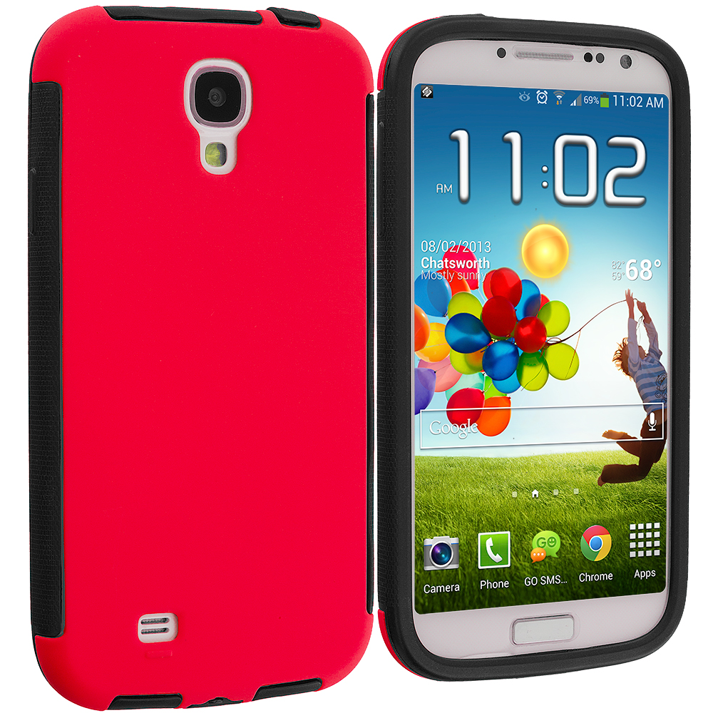 Samsung Galaxy S4 Black / Red Hybrid Hard TPU Shockproof Case Cover With Built in Screen Protector
