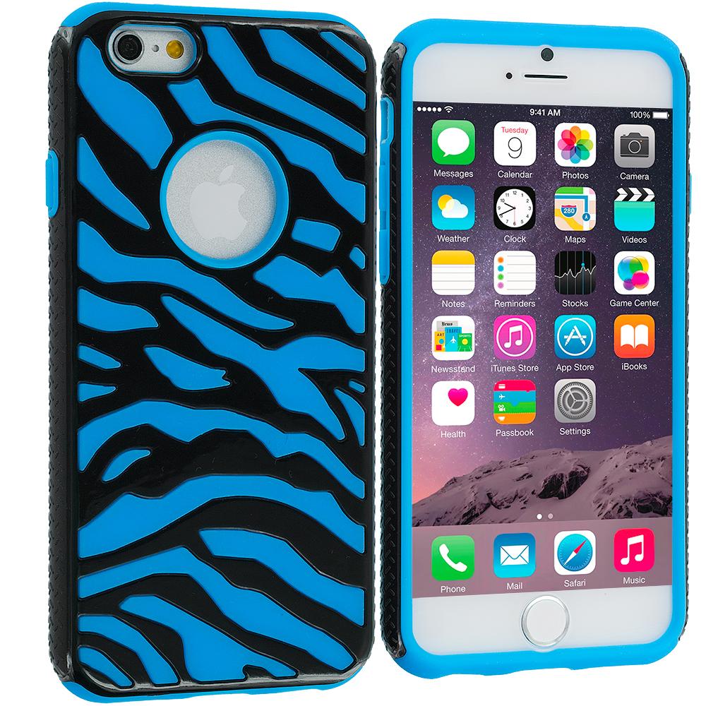 Apple iPhone 6 6S (4.7) Black / Baby Blue Hybrid Zebra Hard/Soft Case Cover