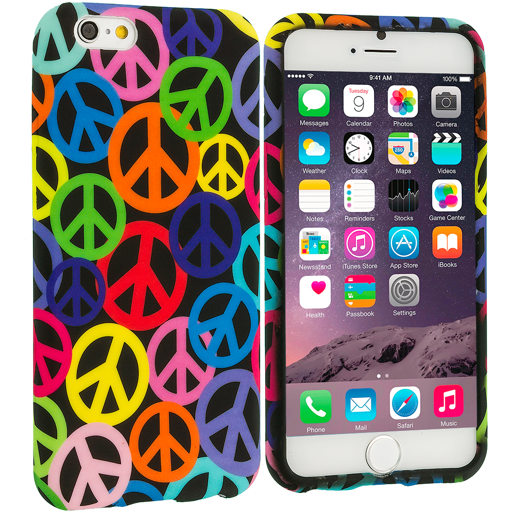 Apple iPhone 6 Plus 6S Plus (5.5) Peace Sign TPU Design Soft Rubber Case Cover